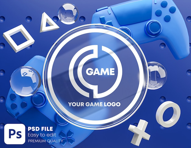 Logo in vetro blu mockup per gamepad Psd Premium