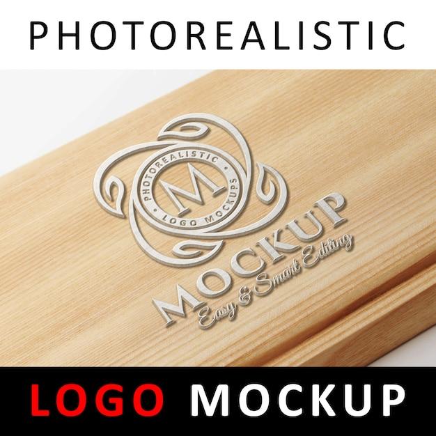 Logo mockup - logo 3d painted on wood Psd Premium