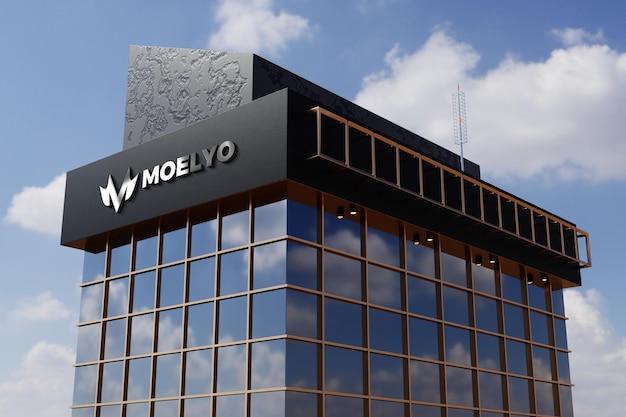 Mockup di logo sul segno di edificio per uffici negozio facciata nera Psd Premium