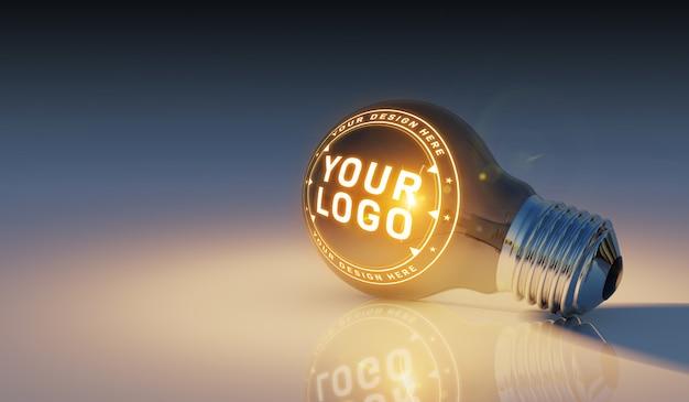 Un logo mockup di una lampadina luminosa che giace sul pavimento Psd Premium