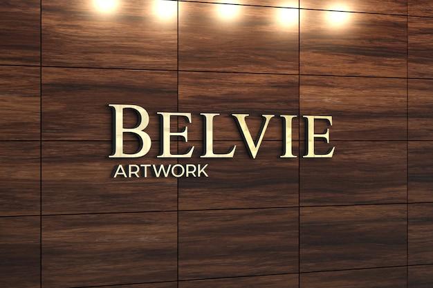 Mockup di logo sulla decorazione della parete in legno esotico Psd Premium