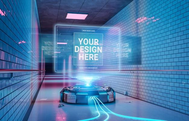 Proiettore logo nel tunnel interno sotterraneo mockup Psd Premium