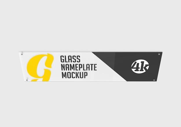 Mockup di targhetta in vetro rettangolare lungo isolato Psd Premium