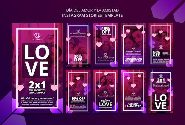 Modello di storie di instagram di san valentino di amore Psd Premium