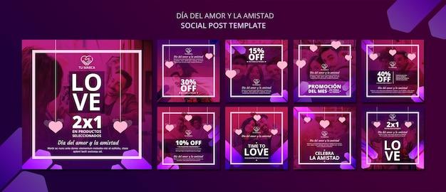 Amo il modello di post sui social media di san valentino Psd Premium