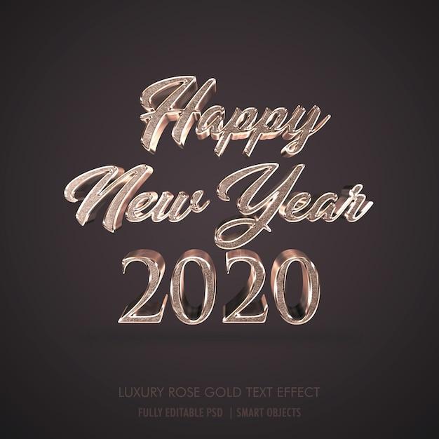 Lusso 3d happy new year 2020, effetto testo in metallo oro rosa Psd Premium
