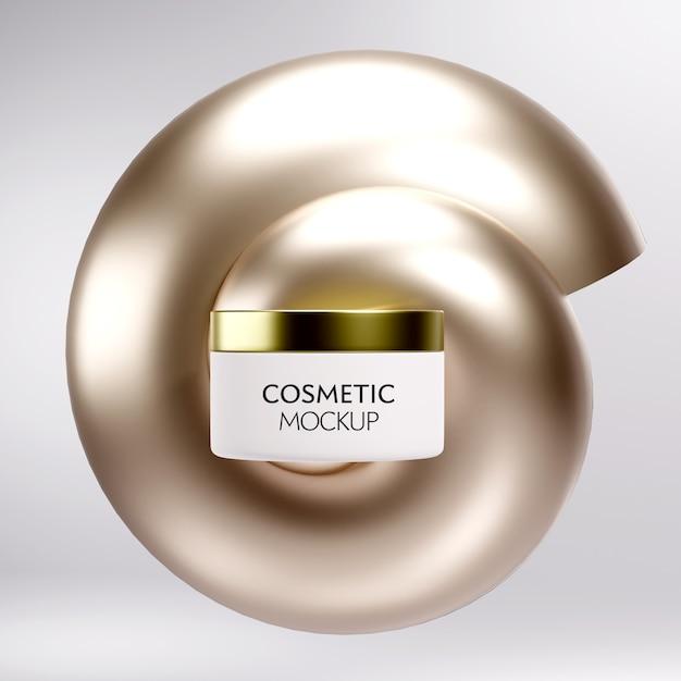 Modello cosmetico di lusso del modello del contenitore del barattolo sul fondo minimo dell'oro Psd Premium