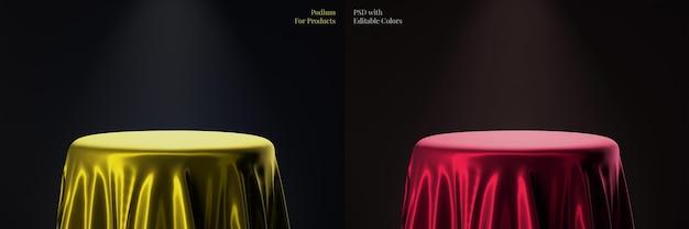 Podio di prodotto circolare elegante di lusso con modello di colore modificabile in tessuto satinato dorato Psd Premium