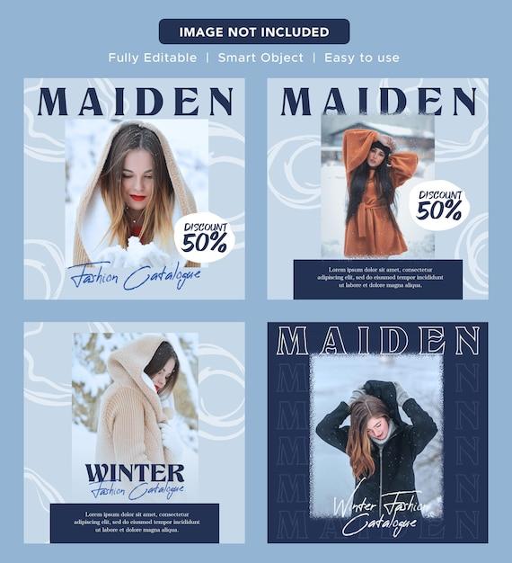 Modello di post instagram di design di banner promozionale di social media di lusso elegante moda sconto Psd Premium