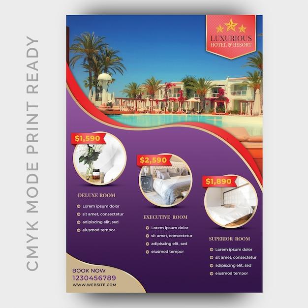 Modello di hotel di lusso per poster, flyer, pagina rivista Psd Premium