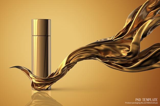 Prodotto di lusso con tessuto oro su sfondo marrone render 3d Psd Premium