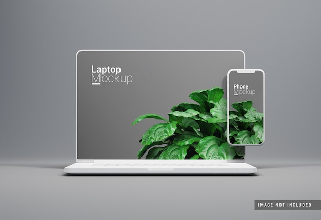 Macbook pro clay mockup vista frontale Psd Premium