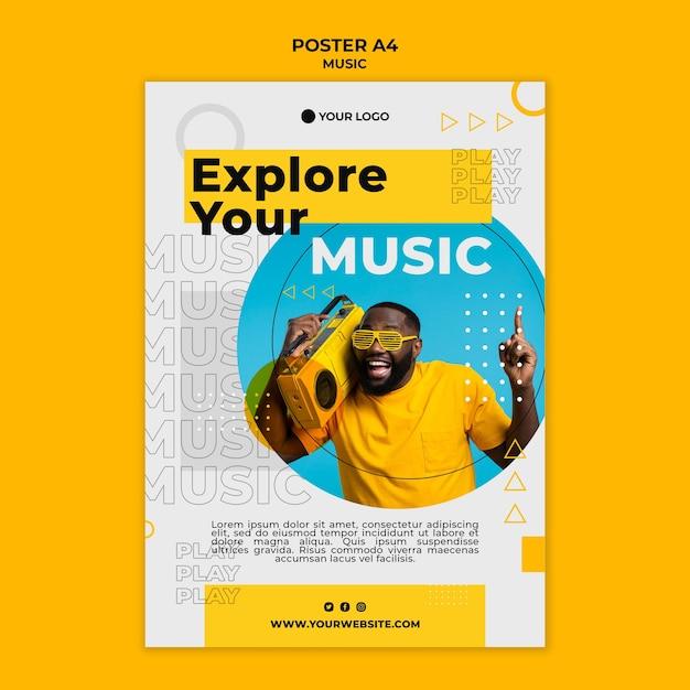 Uomo che ascolta il modello di poster di musica Psd Premium