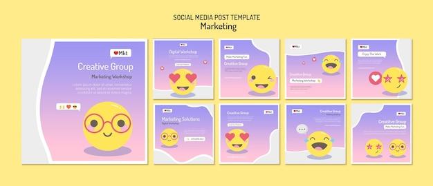 Modello di post sui social media del workshop di marketing Psd Premium