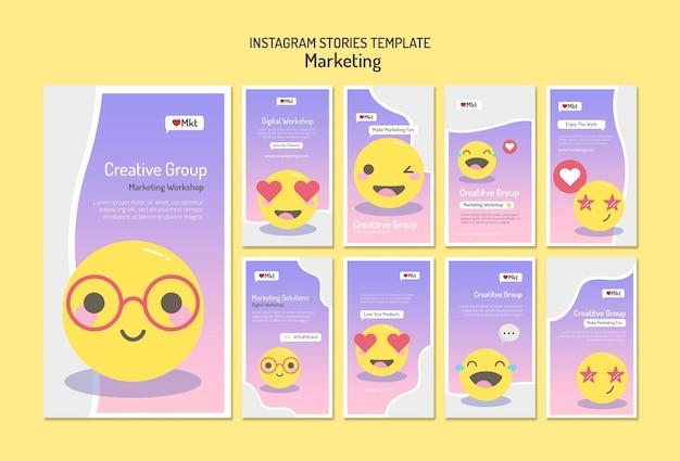 Modello di storie sui social media del workshop di marketing Psd Premium
