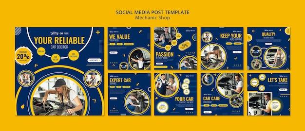 Modello di post sui social media del negozio di meccanico Psd Premium