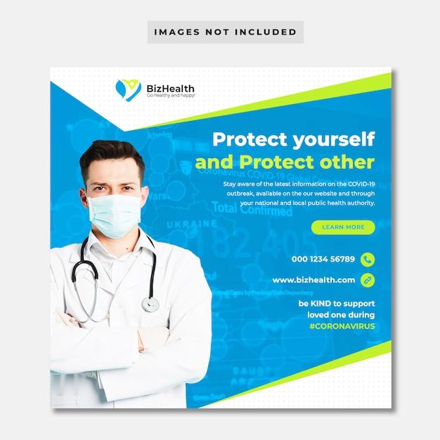 Banner di assistenza sanitaria medica sul coronavirus Psd Premium