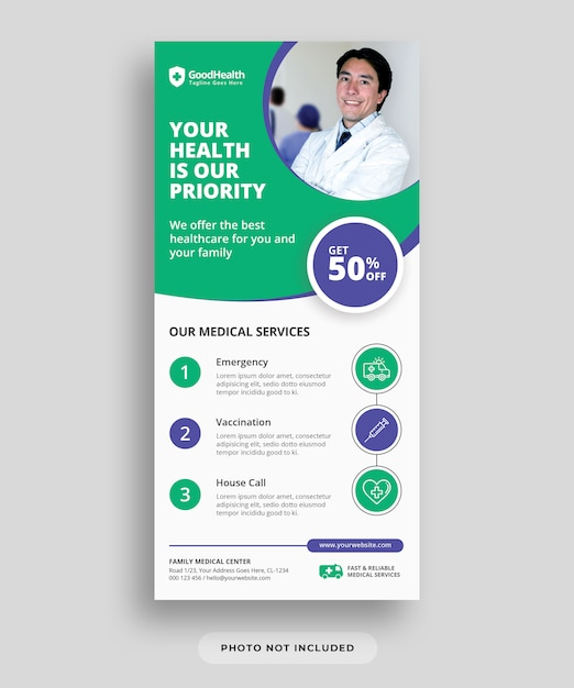 Volantino medico e sanitario Psd Premium