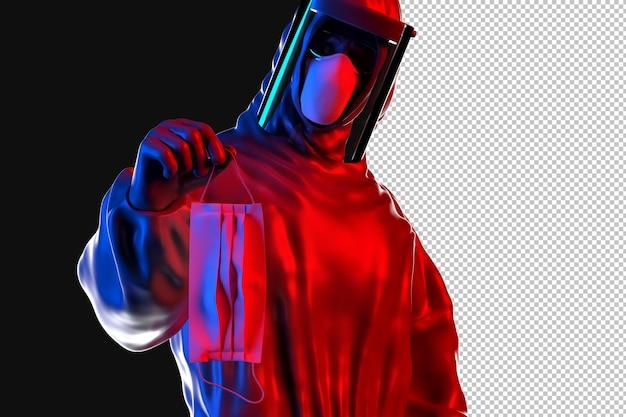 Operaio medico in tuta ignifuga che tiene maschera protettiva medica Psd Premium