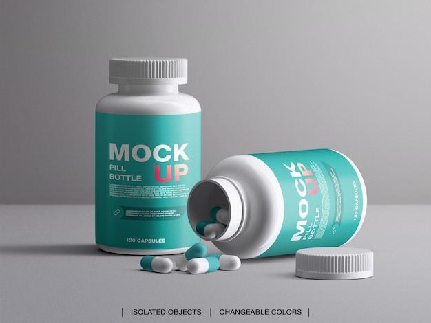 Medicina salute branding vitamine pillola bottiglia di plastica mockup con capsule isolate Psd Premium