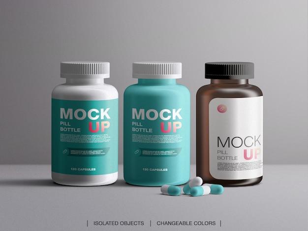 Medicina vitamine pillola bottiglia di plastica contenitori di imballaggio mockup con capsule isolate Psd Premium