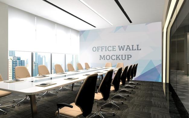 Lo spazio della riunione ha grandi porte in vetro che si affacciano sul mockup del muro dello spazio esterno Psd Premium