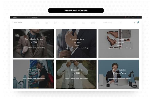 Pagina di destinazione sito web di abbigliamento estivo uomo, homepage, header, slider Psd Premium