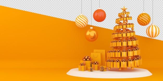 Buon natale e felice anno nuovo rendering 3d Psd Premium