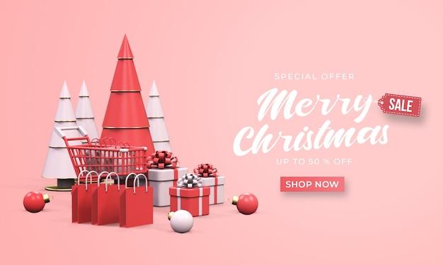 Mockup di banner di vendita di buon natale con carrello, borse della spesa, scatole regalo e albero di pino Psd Premium