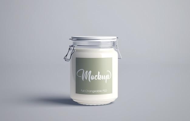 Mockup di barattolo di latte isolato Psd Premium