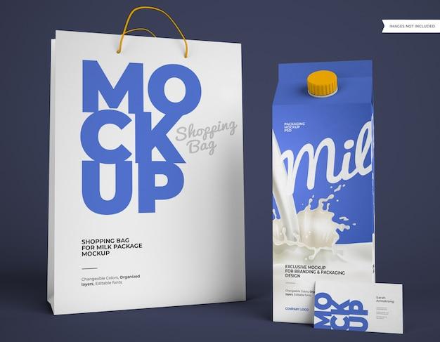 Mockup di pacchetto latte con borsa della spesa e biglietto da visita Psd Premium