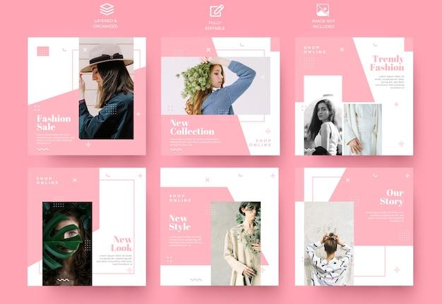 Insieme di modelli di post e storie rosa social media minimalista Psd Premium