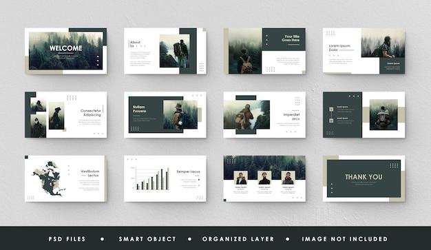 Presentazione minimalista diapositiva vintage green forest power point pagina di destinazione keynote Psd Premium
