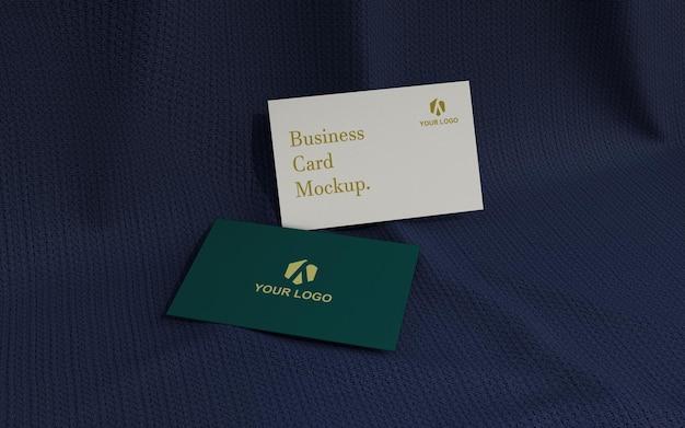 Mockup di biglietto da visita minimalista sul tessuto scuro Psd Premium