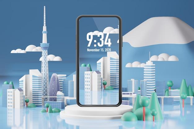 Rendering 3d di mockup di telefono cellulare Psd Premium