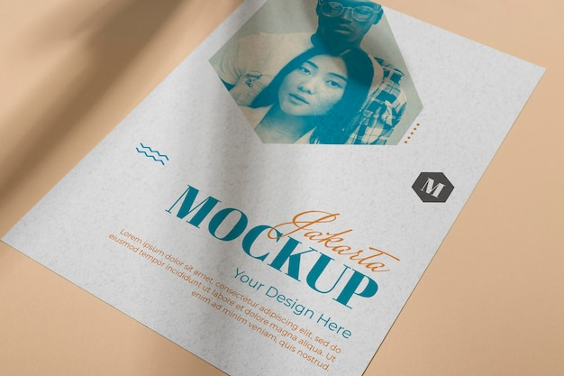 Mock up brochure shadow overlay flat lay Psd Premium