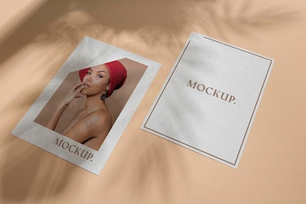 Mock up brochure shadow overlay flat lay Psd Premium