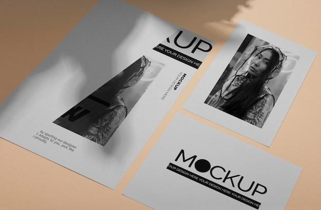 Mock up brochure shadow overlay vista dall'alto Psd Premium