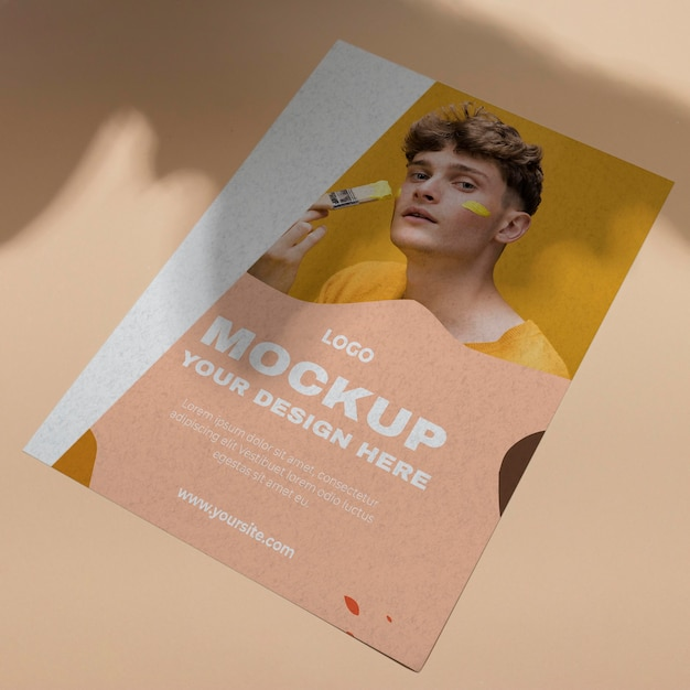 Mock up brochure shadow overlay vista dall'alto Psd Premium