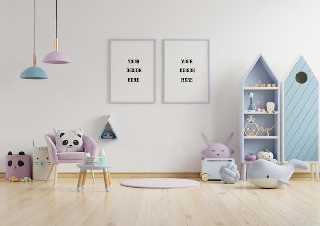 Mock up frame poster in camera dei bambini, camera dei bambini, mockup della scuola materna, muro bianco, rendering 3d Psd Premium