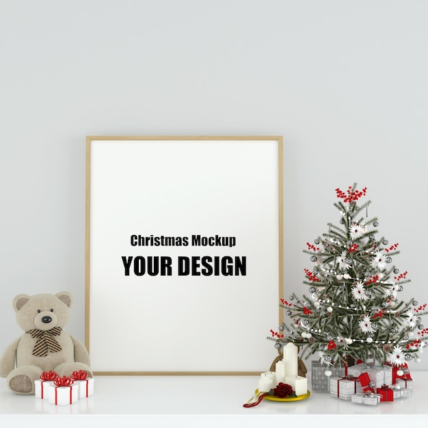 Mock up poster frame in interior scandinavian christmas and winter decoration Psd Premium