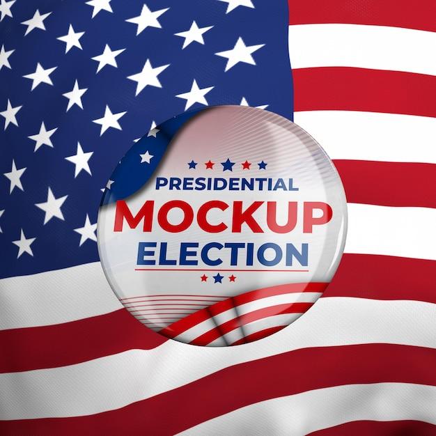 Insegne di elezioni presidenziali di mock-up per gli stati uniti con la bandiera americana Psd Premium