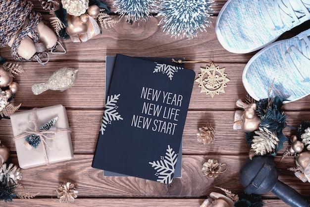 Libro di copertina del mockup per il concetto sano di risoluzioni del nuovo anno Psd Premium