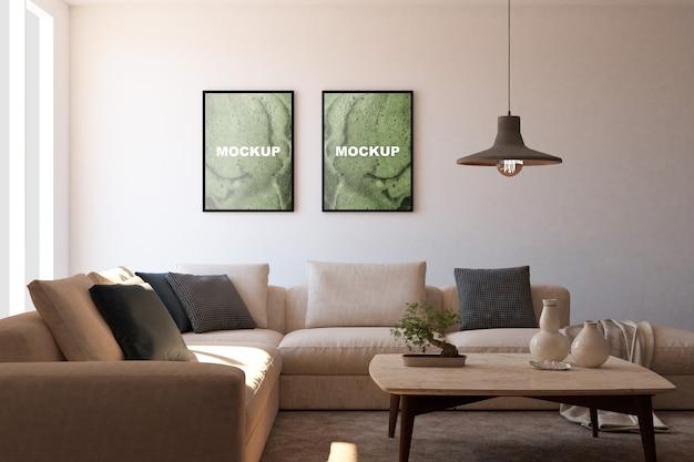 Mockup di cornici in salotto Psd Premium