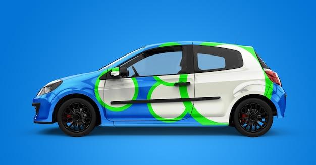 Mockup di una generica city car blu e bianca Psd Premium