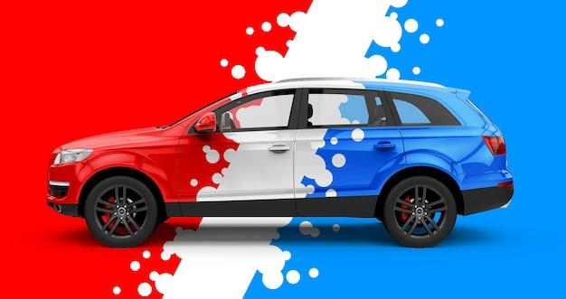Mockup di una generica city car rossa e blu Psd Premium