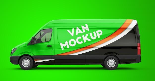 Mockup di un furgone verde Psd Premium