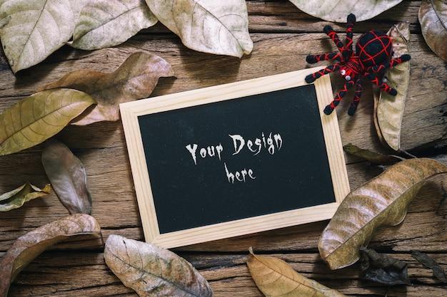 Mockup halloween e ringraziamento autunno lavagna mockup Psd Premium