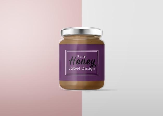 Design dell'etichetta del barattolo di miele mockup Psd Premium