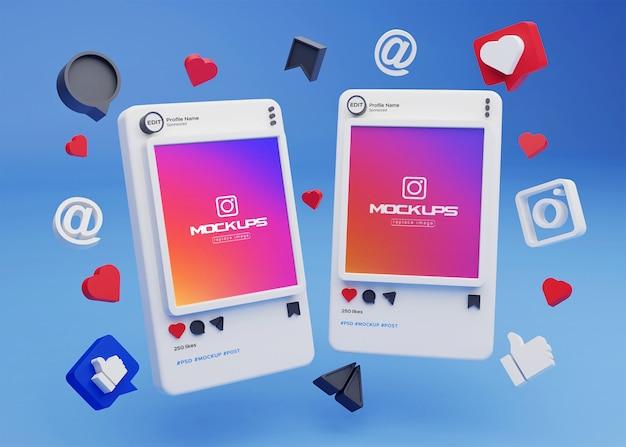 Mockup instagram social media 3d Psd Premium